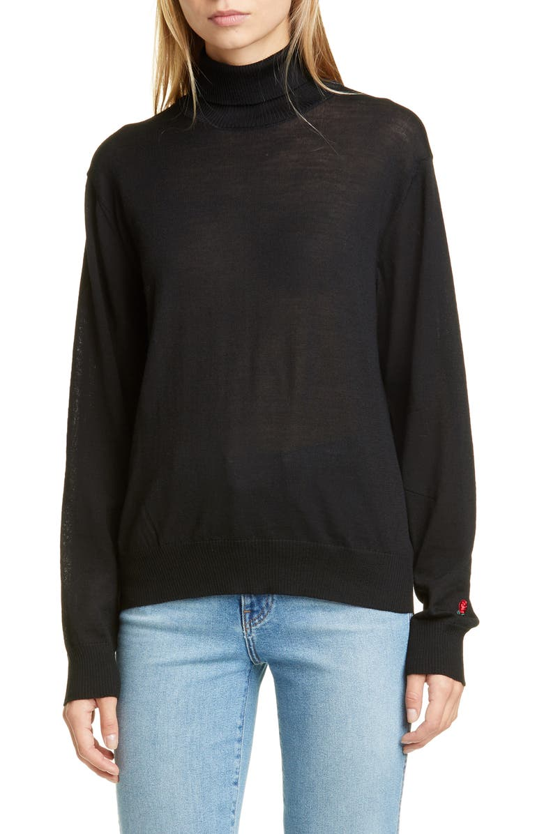 UNDERCOVER Rose Embroidered Wool Turtleneck Sweater, Main, color, L BLACK