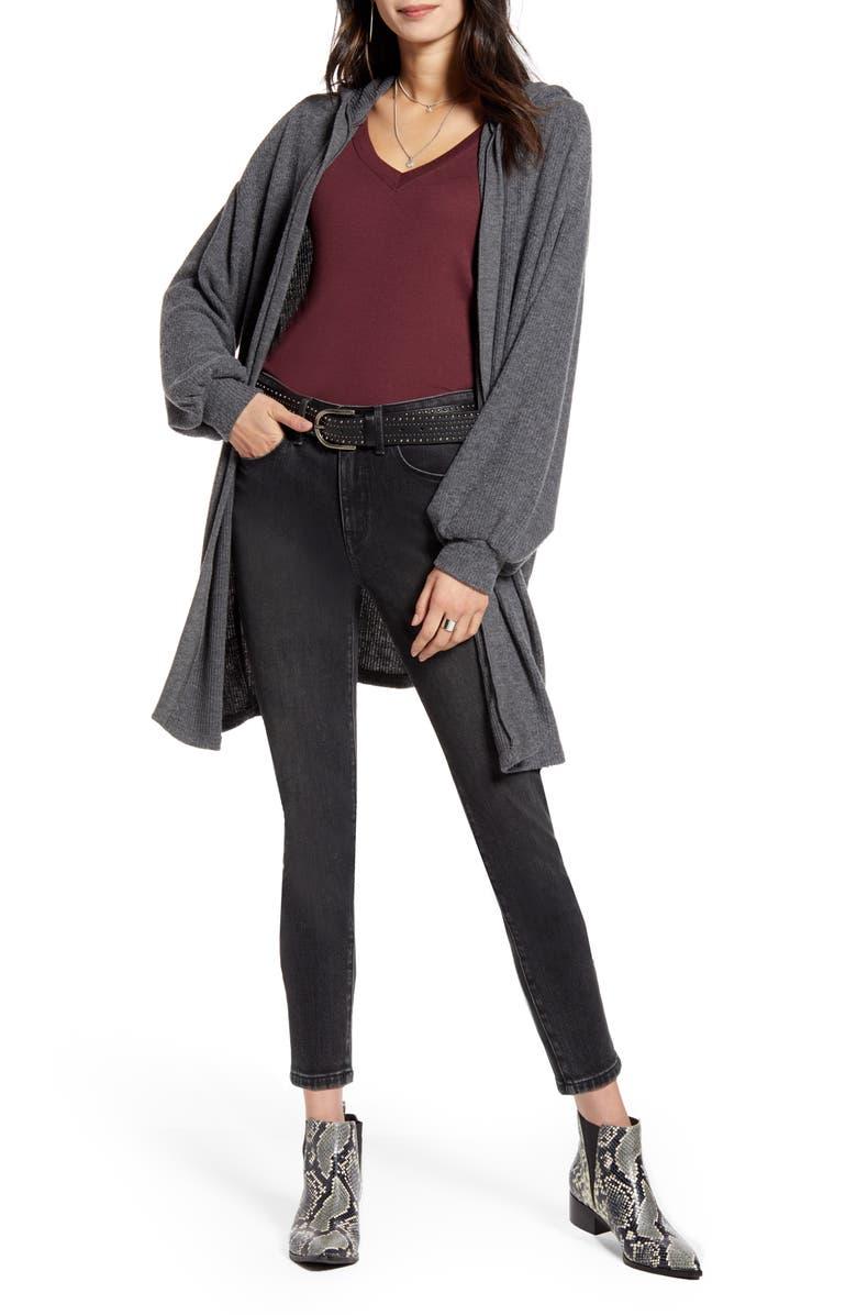 TREASURE & BOND Cozy Hooded Cardigan, Main, color, GREY DARK CHARCOAL HEATHER