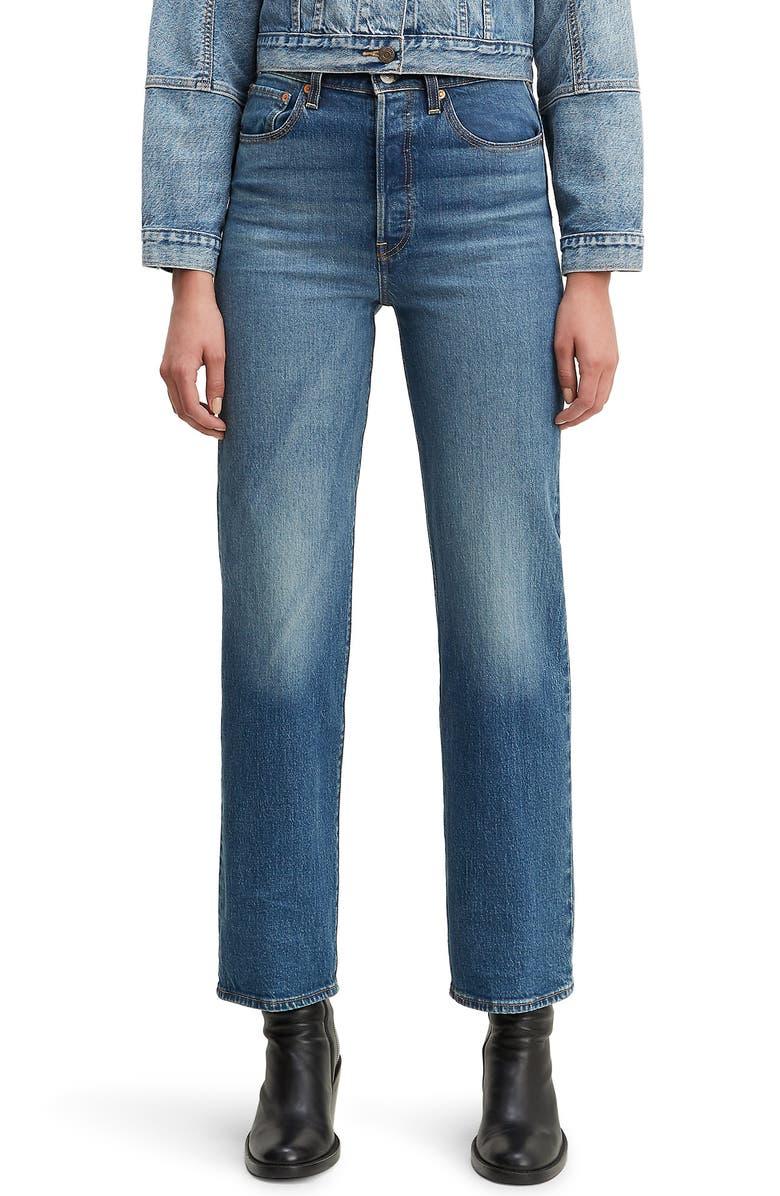 LEVI'S<SUP>®</SUP> Ribcage Super High Waist Straight Leg Jeans, Main, color, CHARELSTON VINTAGE