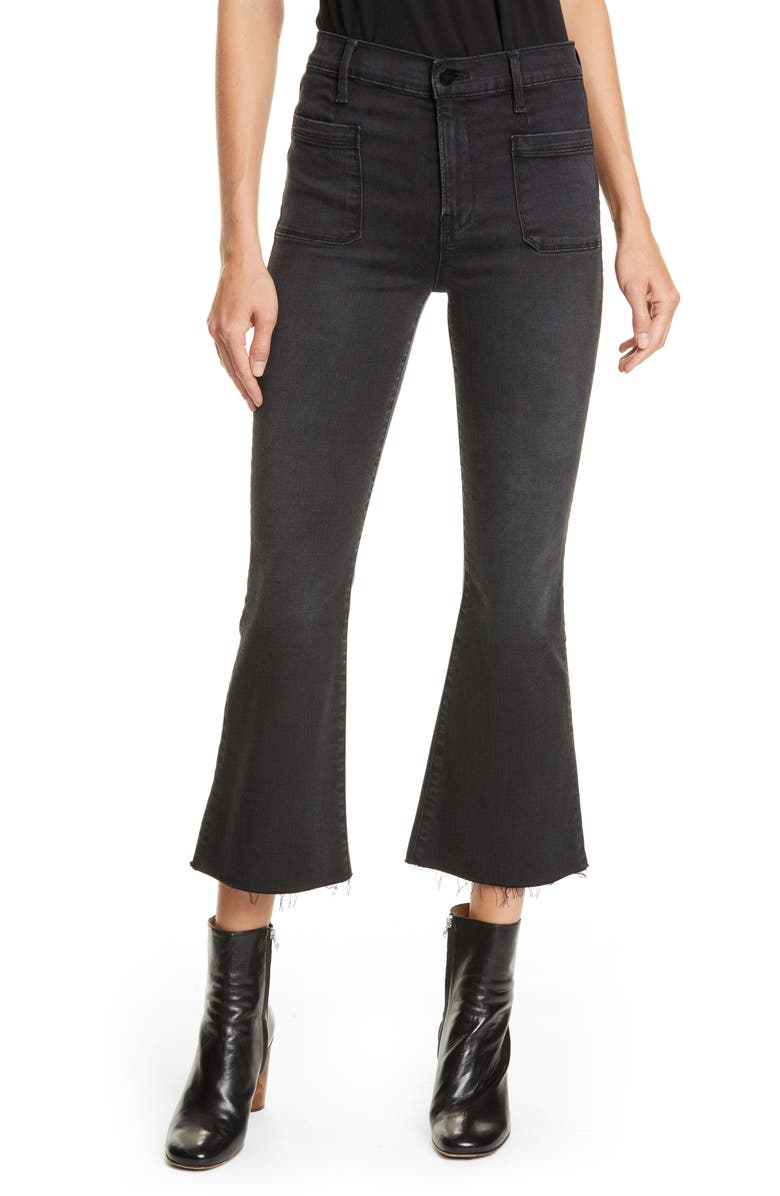FRAME Le Bardot Patch Pocket High Waist Crop Flare Jeans, Main, color, KERRY