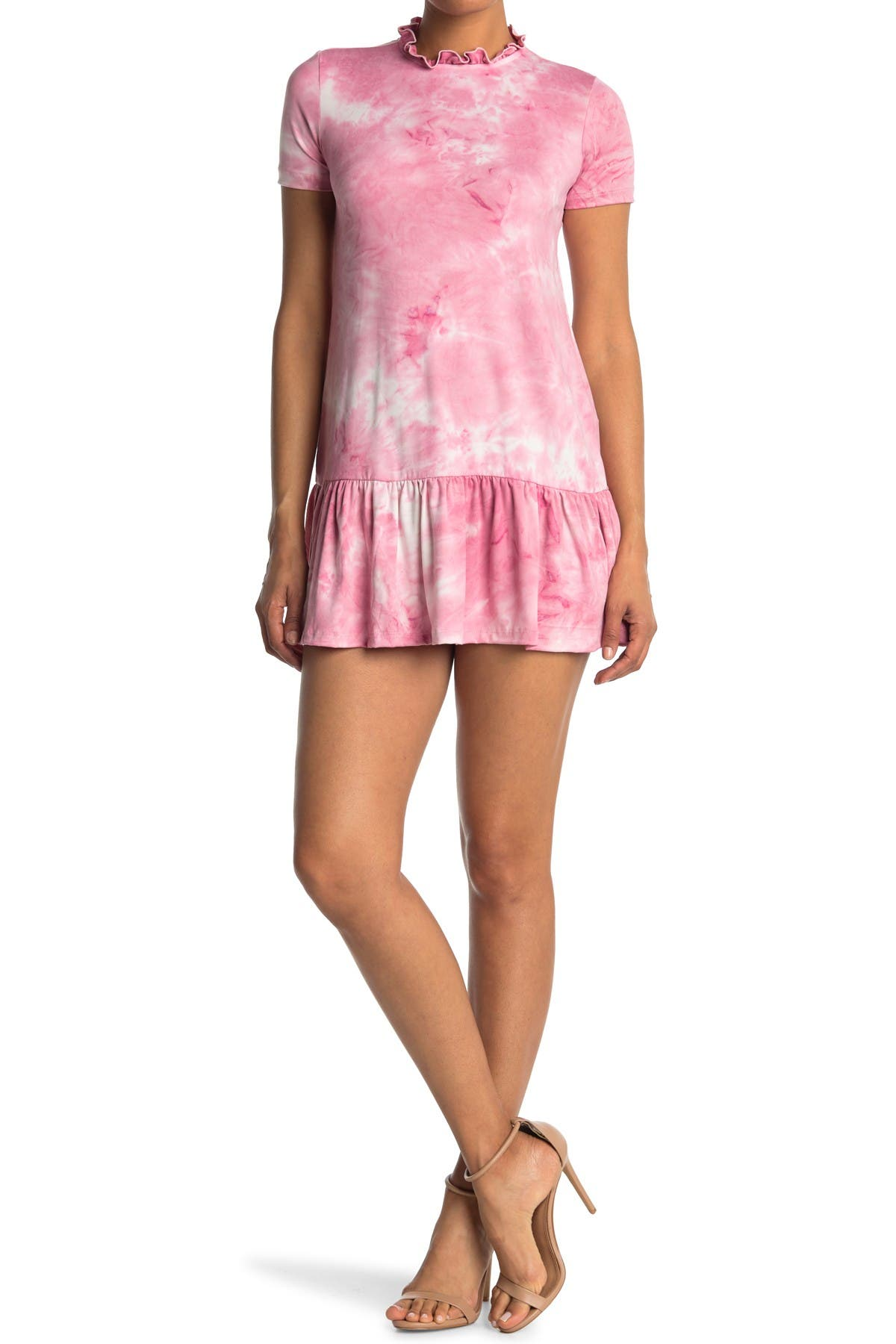Image of Velvet Torch Drop Waist Tie Dye Print T-Shirt Dress