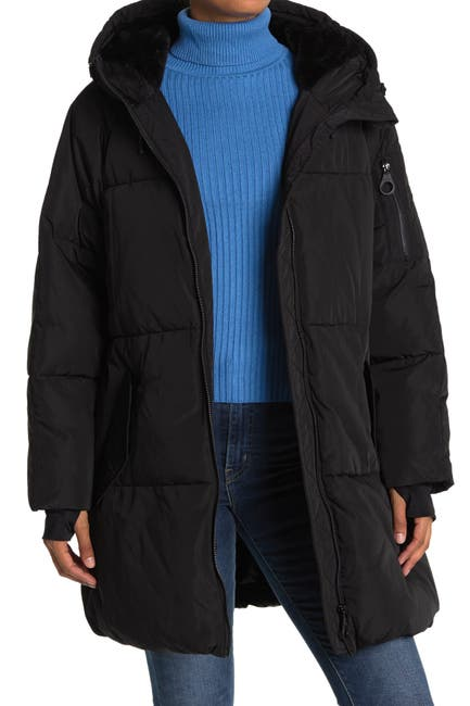 Image of DKNY Puffer Coat with Oversized Hood