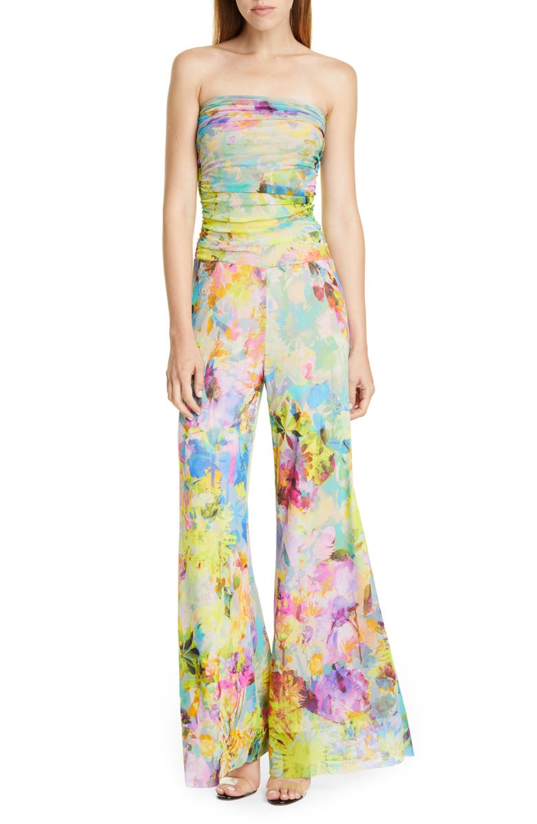 FUZZI Floral Print Strapless Jumpsuit, Main, color, LIMPIDO
