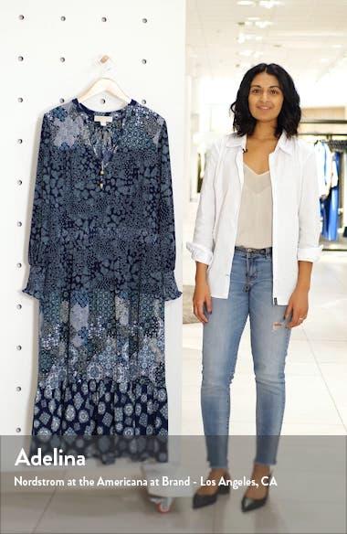 Mixed Print Split Neck Long Sleeve Dress, sales video thumbnail