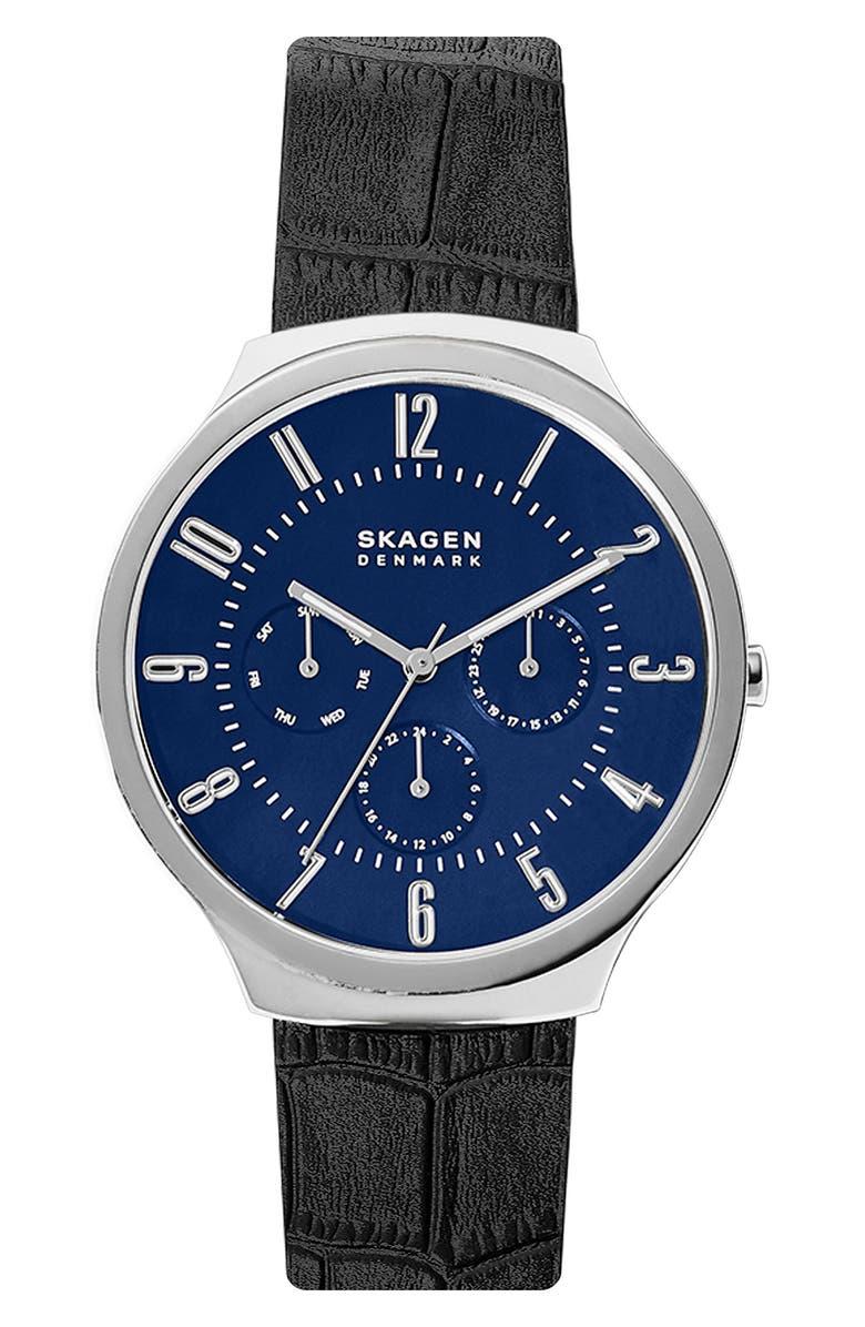 SKAGEN Grenen Leather Strap Watch, 38mm, Main, color, BLACK/ BLUE/ SILVER