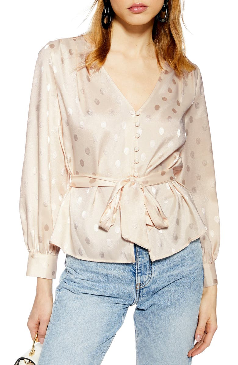 TOPSHOP Spot Jacquard Belted Top, Main, color, 900