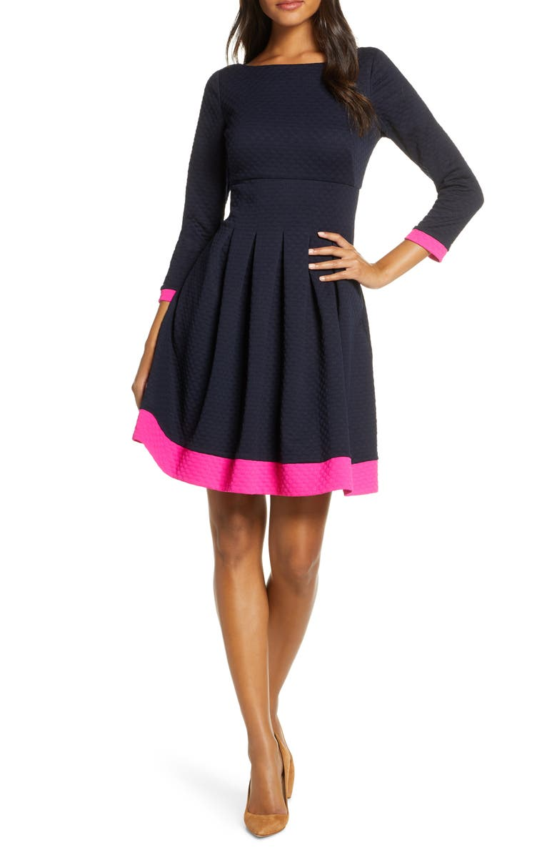 ELIZA J Dot Textured Fit & Flare Dress, Main, color, NAVY