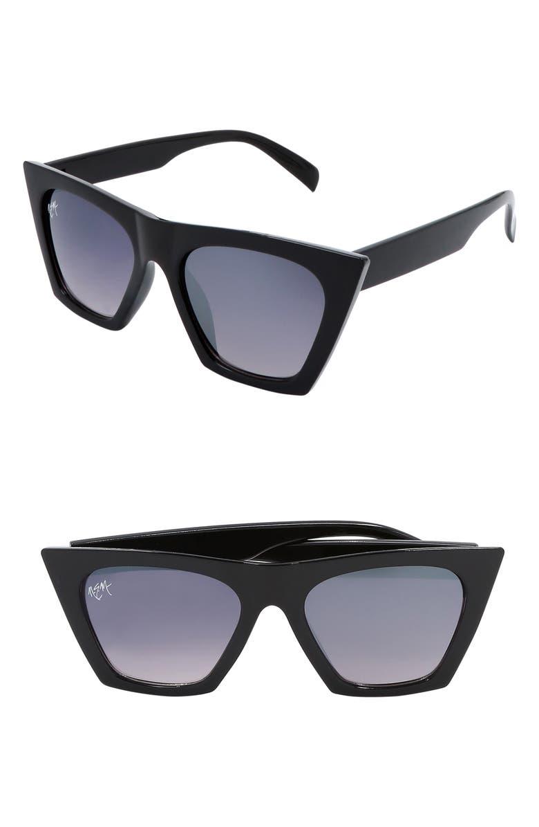 NEM Posh 50mm Gradient Angular Sunglasses, Main, color, BLACK W GREY GRADIENT LENS