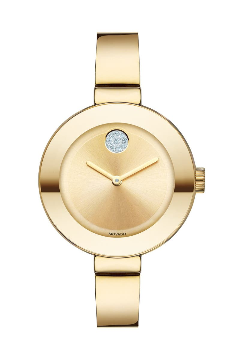 MOVADO 'Bold' Crystal Accent Bangle Watch, 34mm, Main, color, GOLD