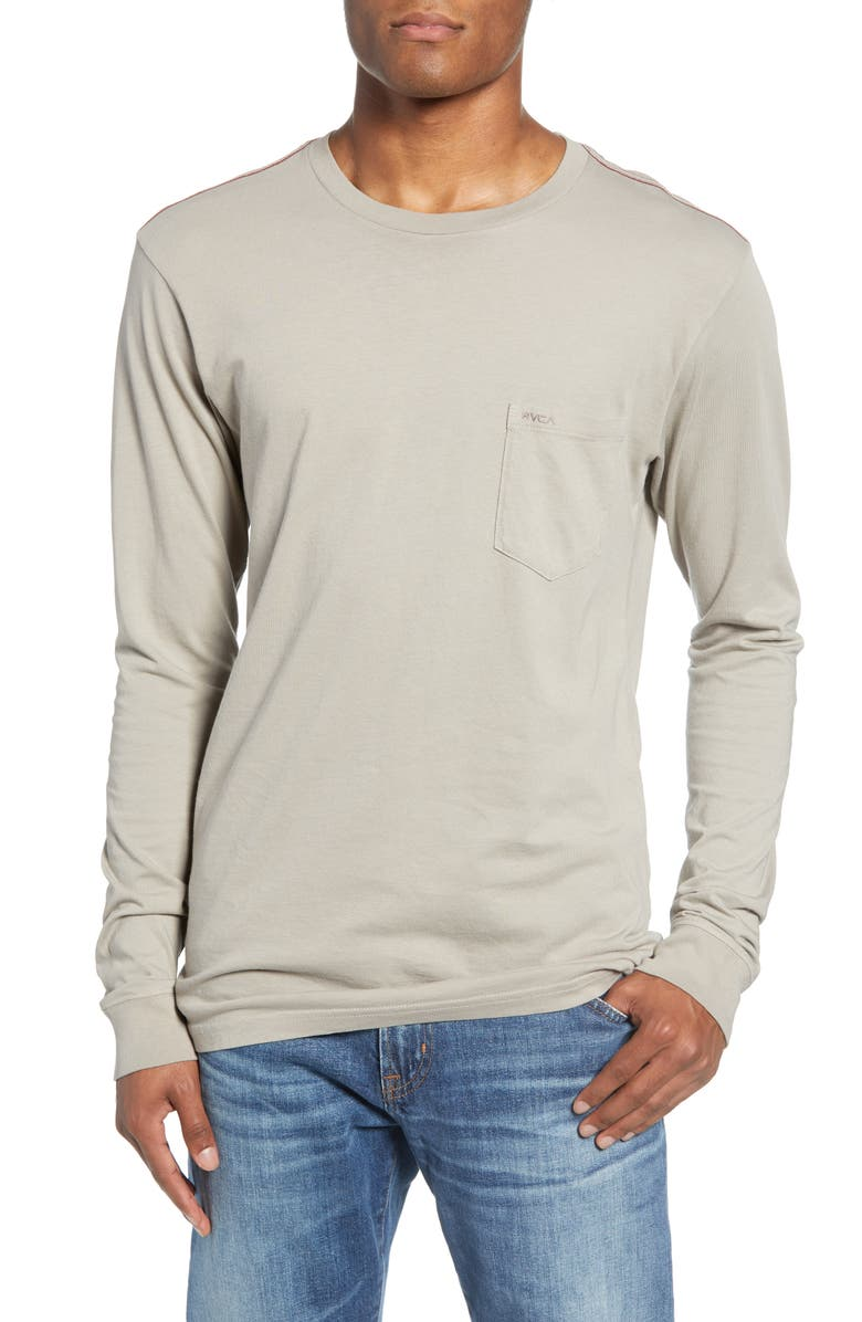 RVCA Pigment Dyed Long Sleeve Pocket T-Shirt, Main, color, OVC-OVERCAST
