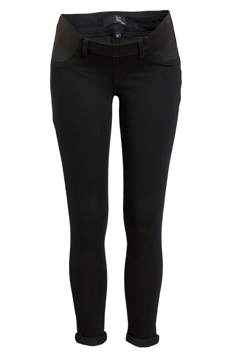 1822 DENIM Re:Denim Maternity Skinny Jeans, Main, color, BLACK
