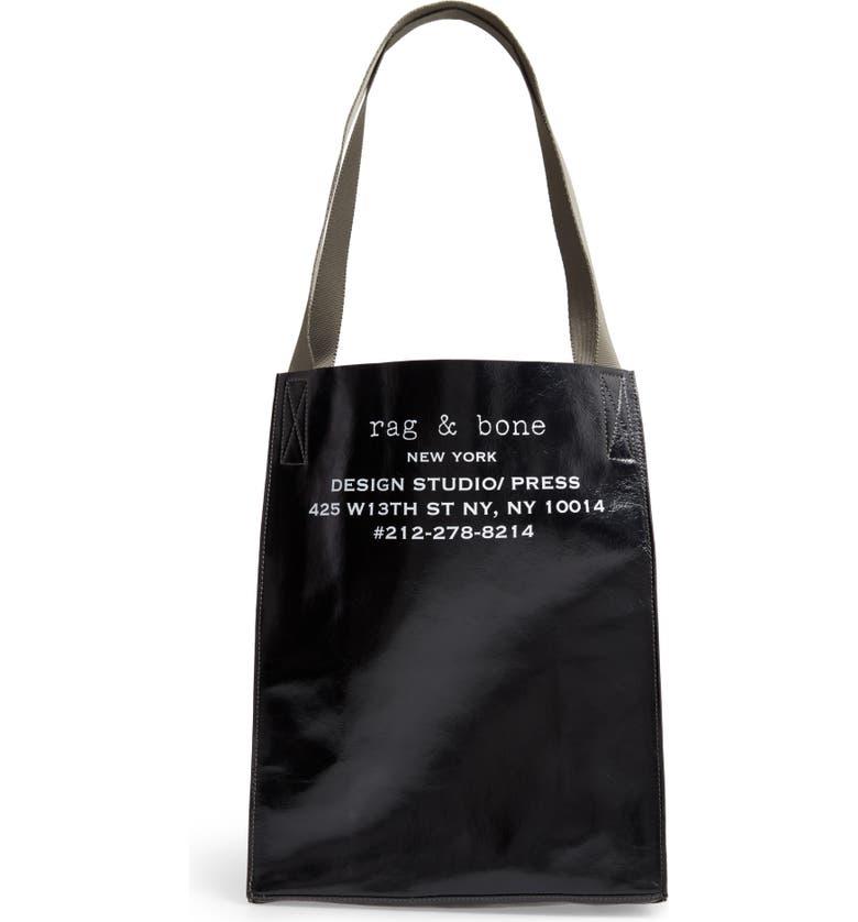 RAG & BONE 425 Leather Folding Tote, Main, color, BLACK
