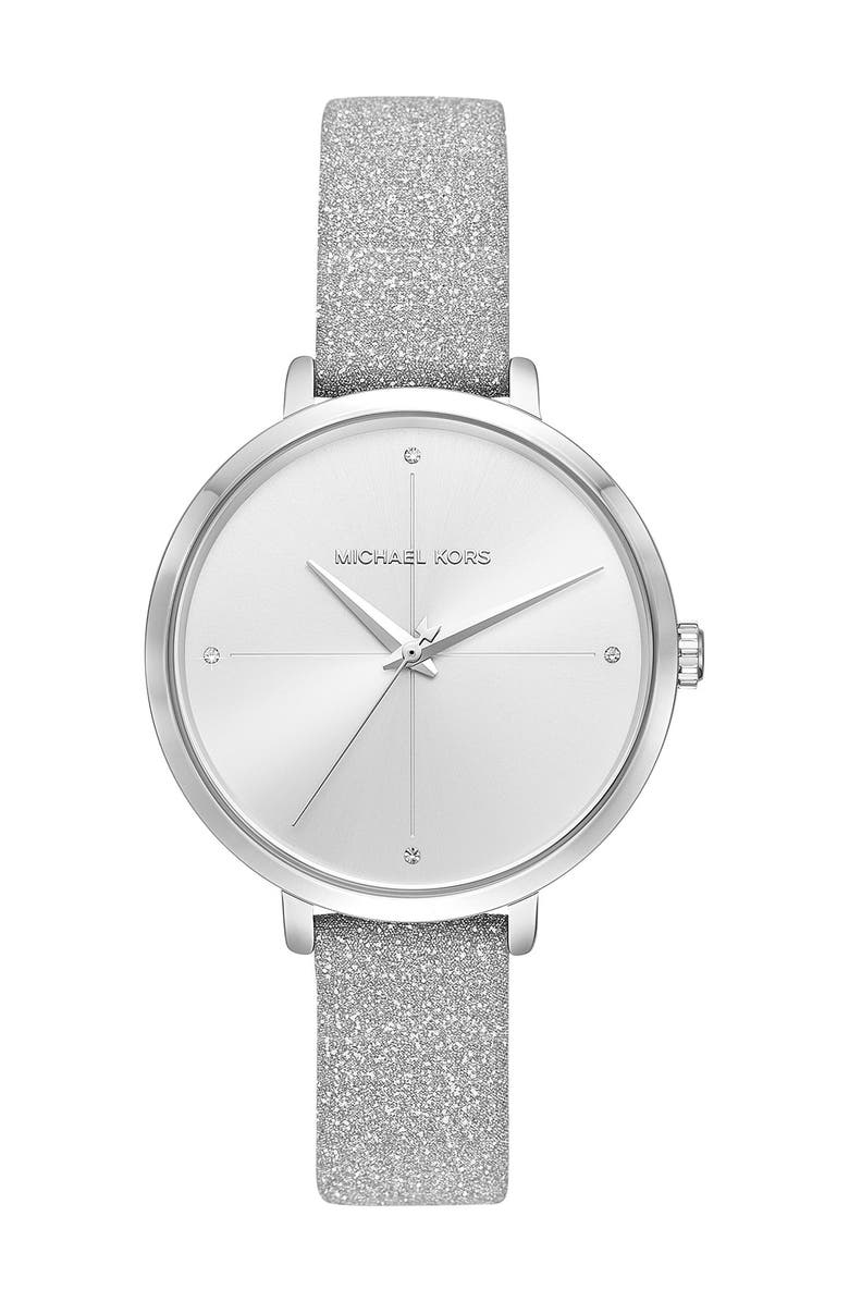 MICHAEL MICHAEL KORS Women's Charley Glitter Leather Strap Watch, 38mm, Main, color, NO COLOR
