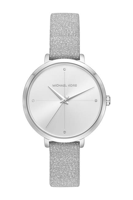 Image of MICHAEL Michael Kors Women's Charley Glitter Leather Strap Watch, 38mm