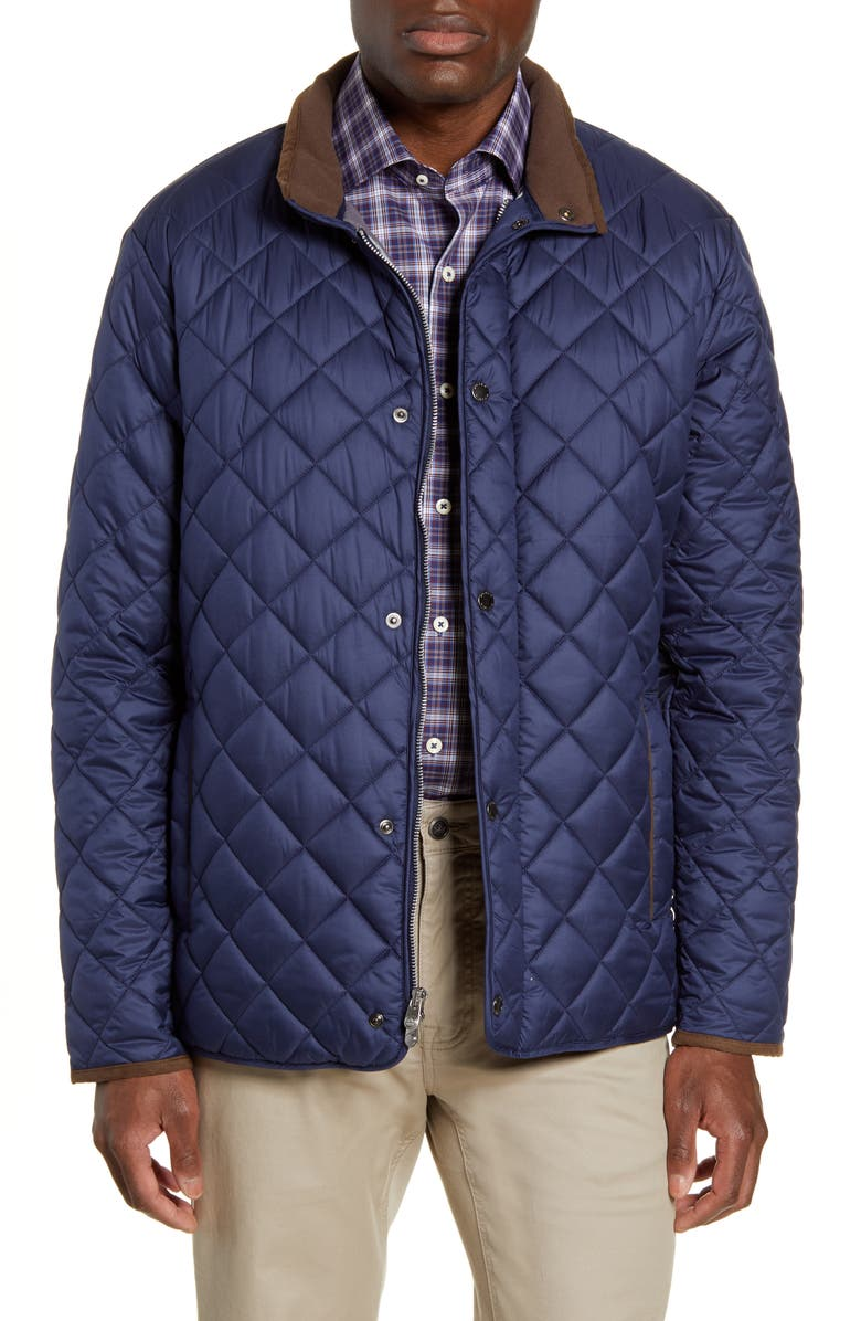 PETER MILLAR Suffolk Quilted Water-Resistant Car Coat, Main, color, NAVY