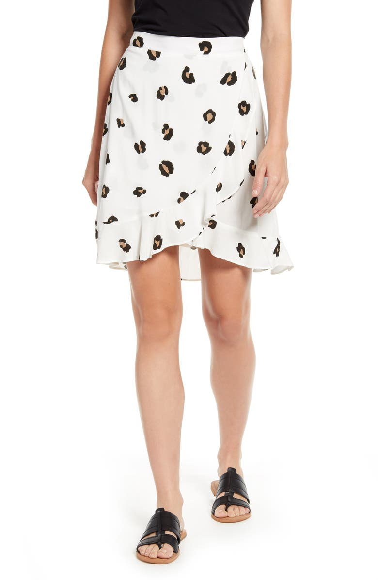 GIBSON x Hot Summer Nights Two Peas Ruffle Faux Wrap Skirt, Main, color, CREAM LEOPARD