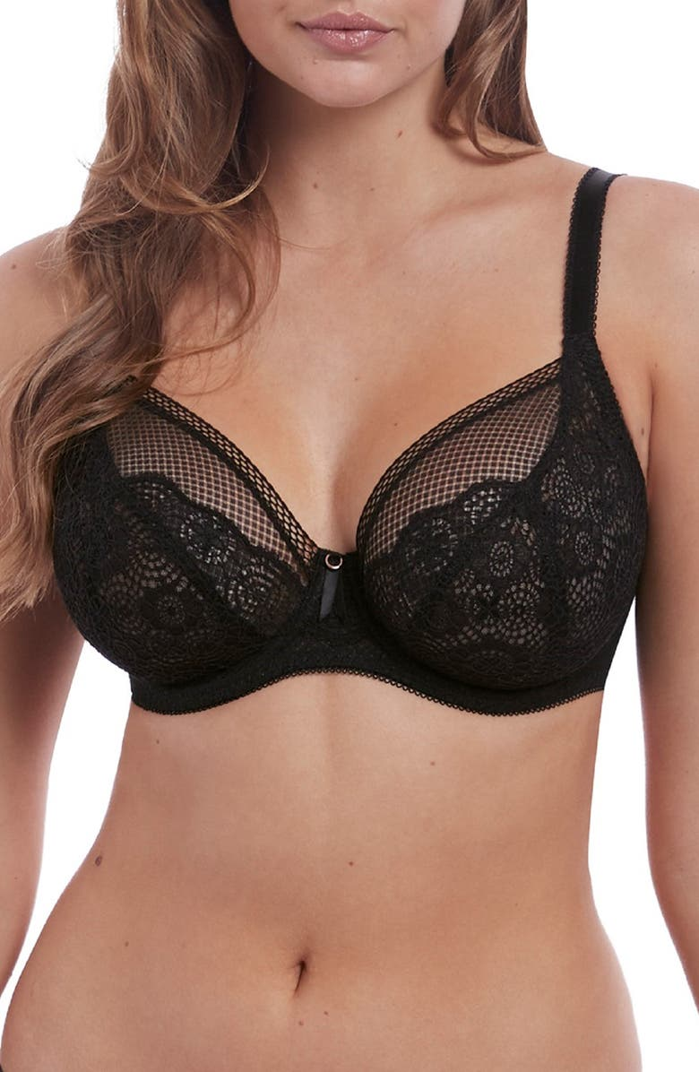 FREYA Expression Underwire Plunge Bra, Main, color, BLACK
