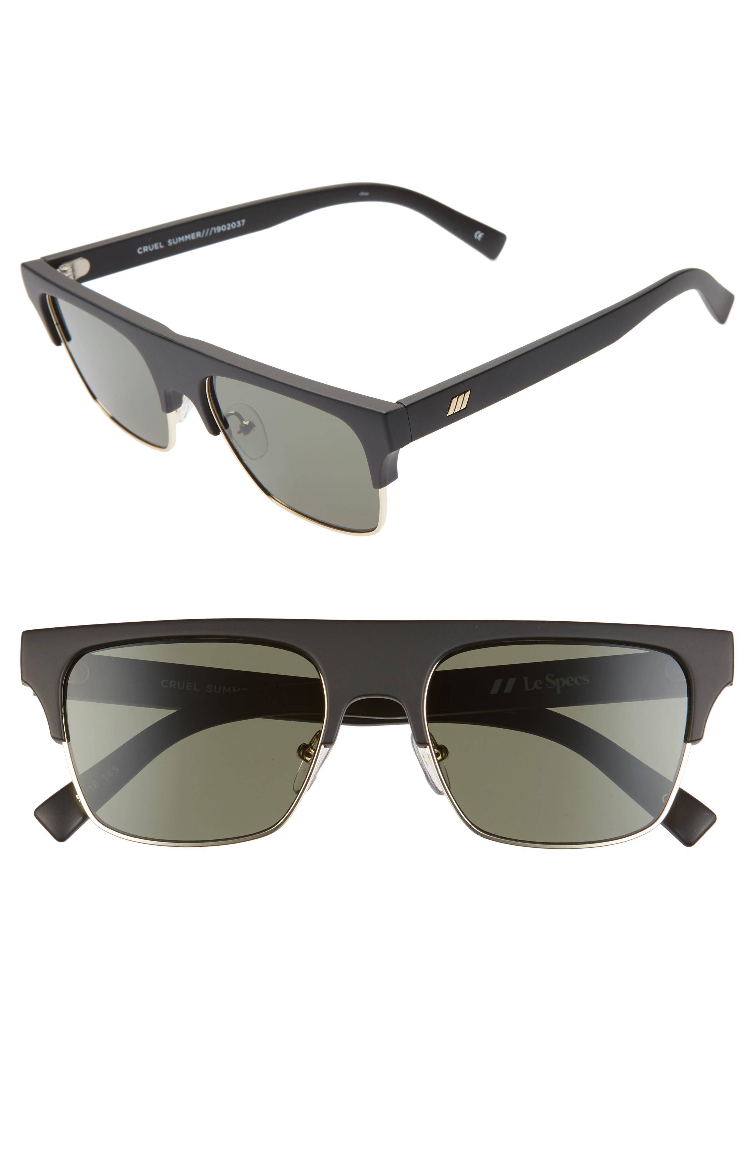 Le Specs Cruel Summer 51Mm Flat Top Sunglasses - Matte Black