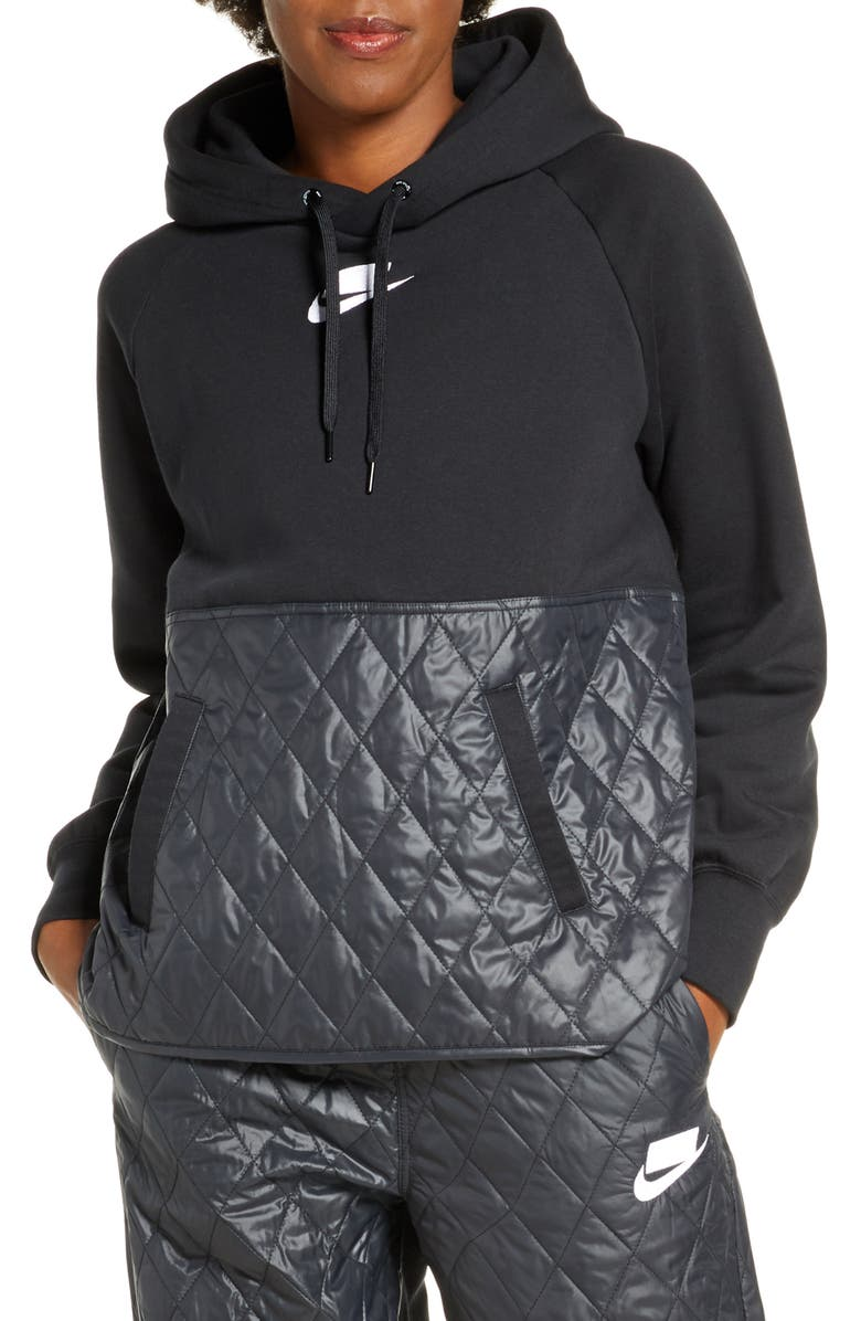 NIKE Sportswear Logo Mixed Media Quilted Hoodie, Main, color, BLACK/ BLACK/ BLACK/ WHITE