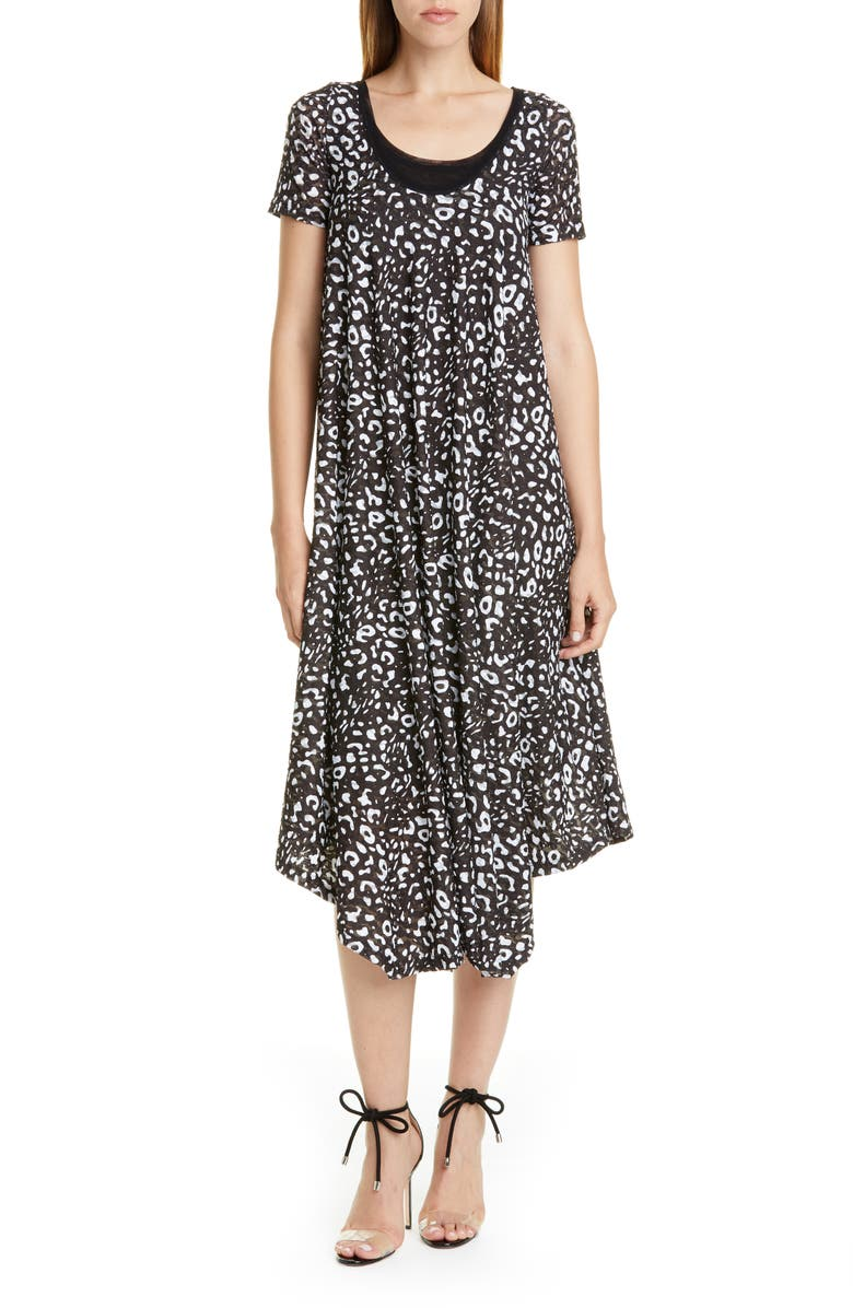 FUZZI Graphic Leopard Print Asymmetrical Shift Dress, Main, color, NERO
