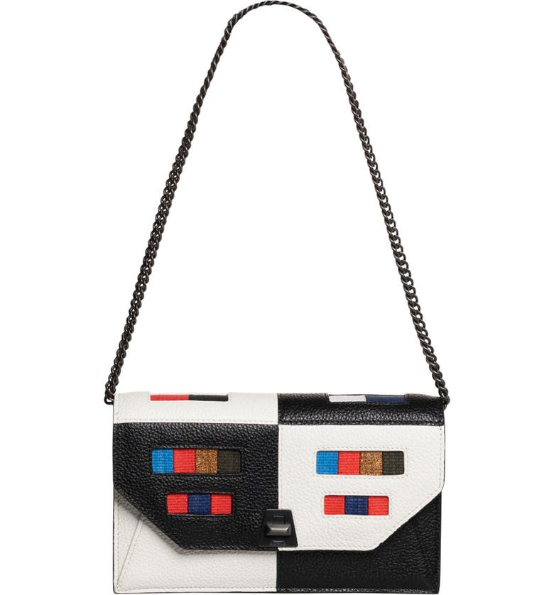 AKRIS Anouk Colorblock Leather Shoulder Bag, Main, color, WHITE MULTI