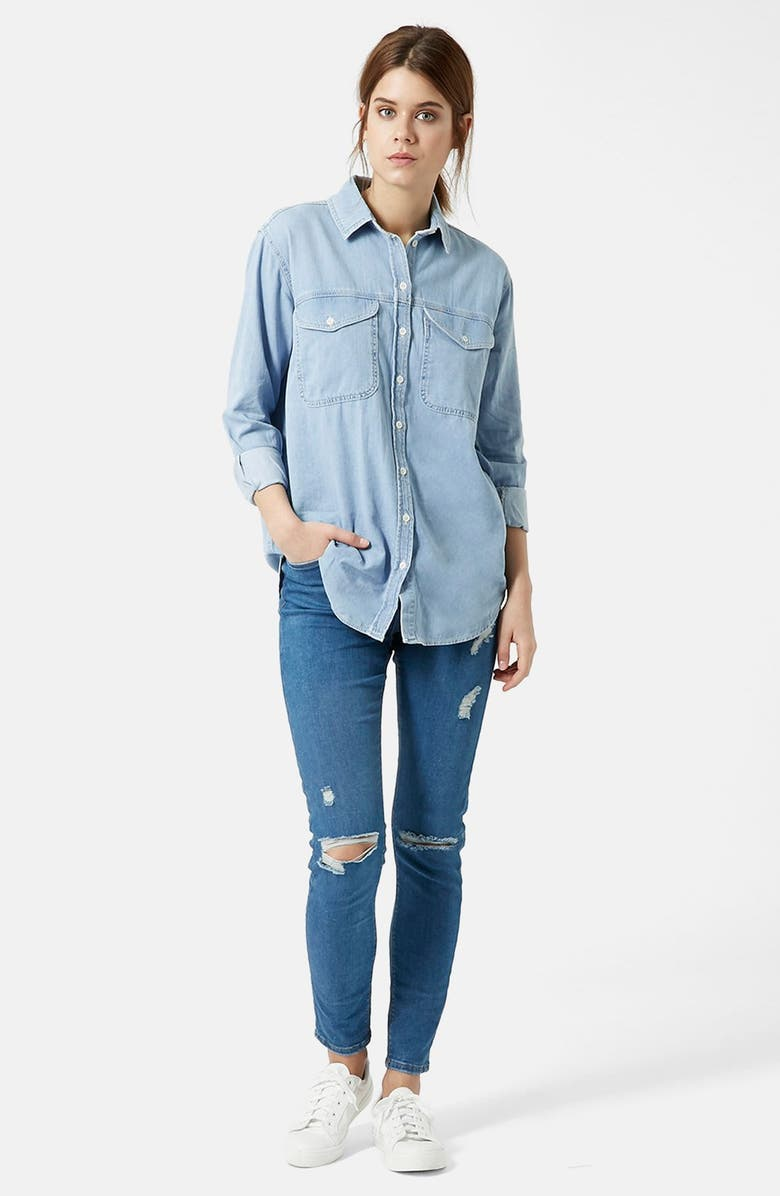 TOPSHOP Moto 'Elton' Oversize Denim Shirt, Main, color, 420