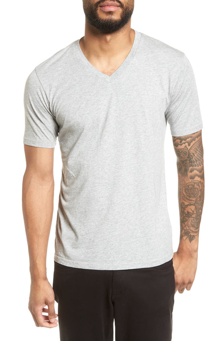 GOODLIFE Classic Supima Cotton Blend V-Neck T-Shirt, Main, color, LT HEATHER GREY