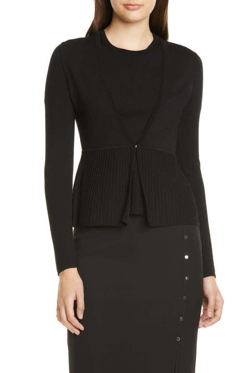 BOSS Faly Ribbed Peplum Wool Blend Cardigan, Main, color, BLACK