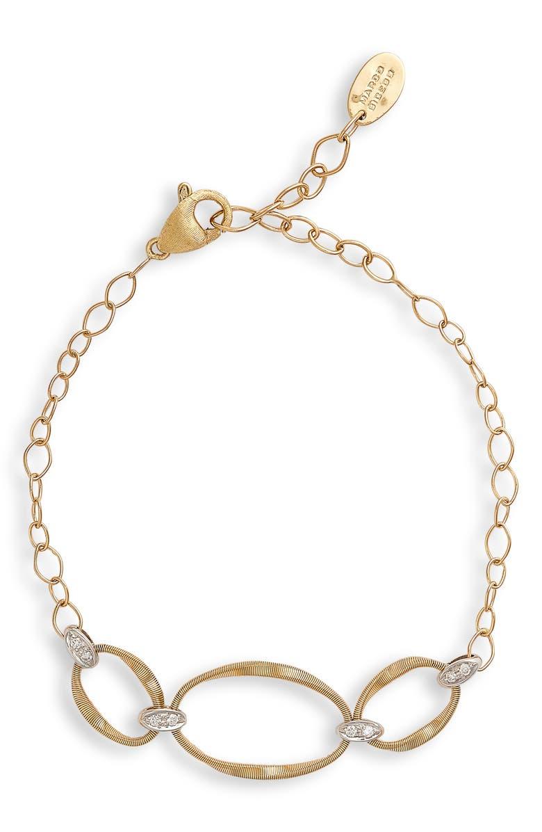MARCO BICEGO Marrakech Onde 18K Gold & Diamond Bracelet, Main, color, WHITE GOLD/ YELLOW GOD