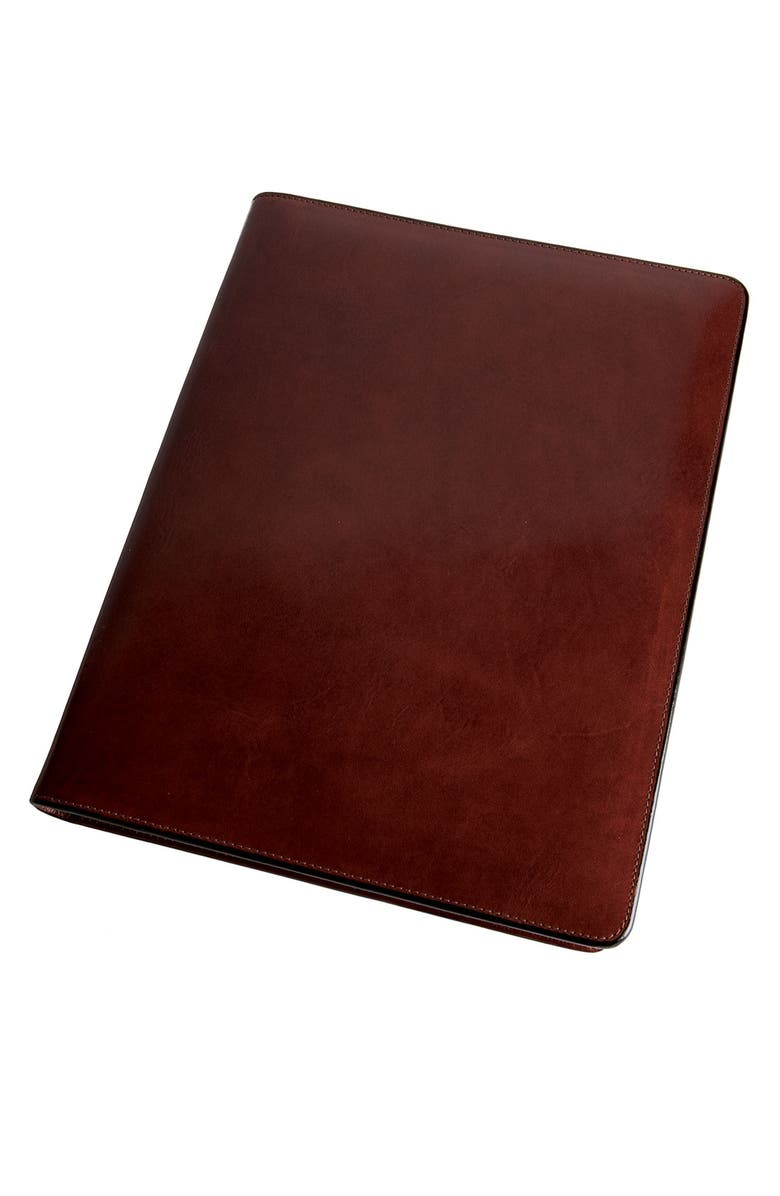 BOSCA Leather Letter Pad Cover, Main, color, BROWN OLD LEATHER
