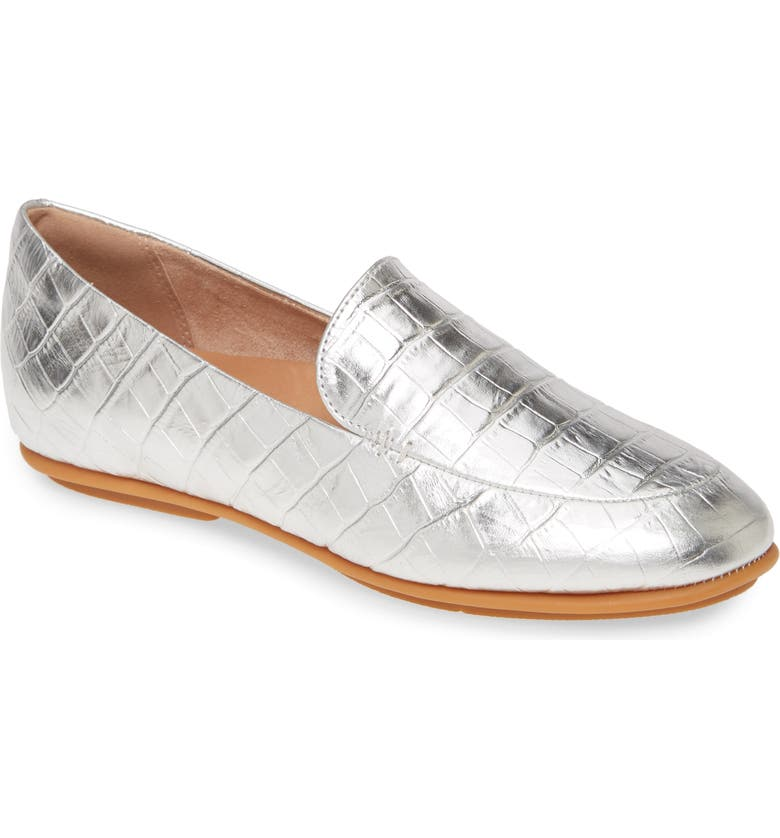 FITFLOP Lena Croc Embossed Loafer, Main, color, SILVER LEATHER