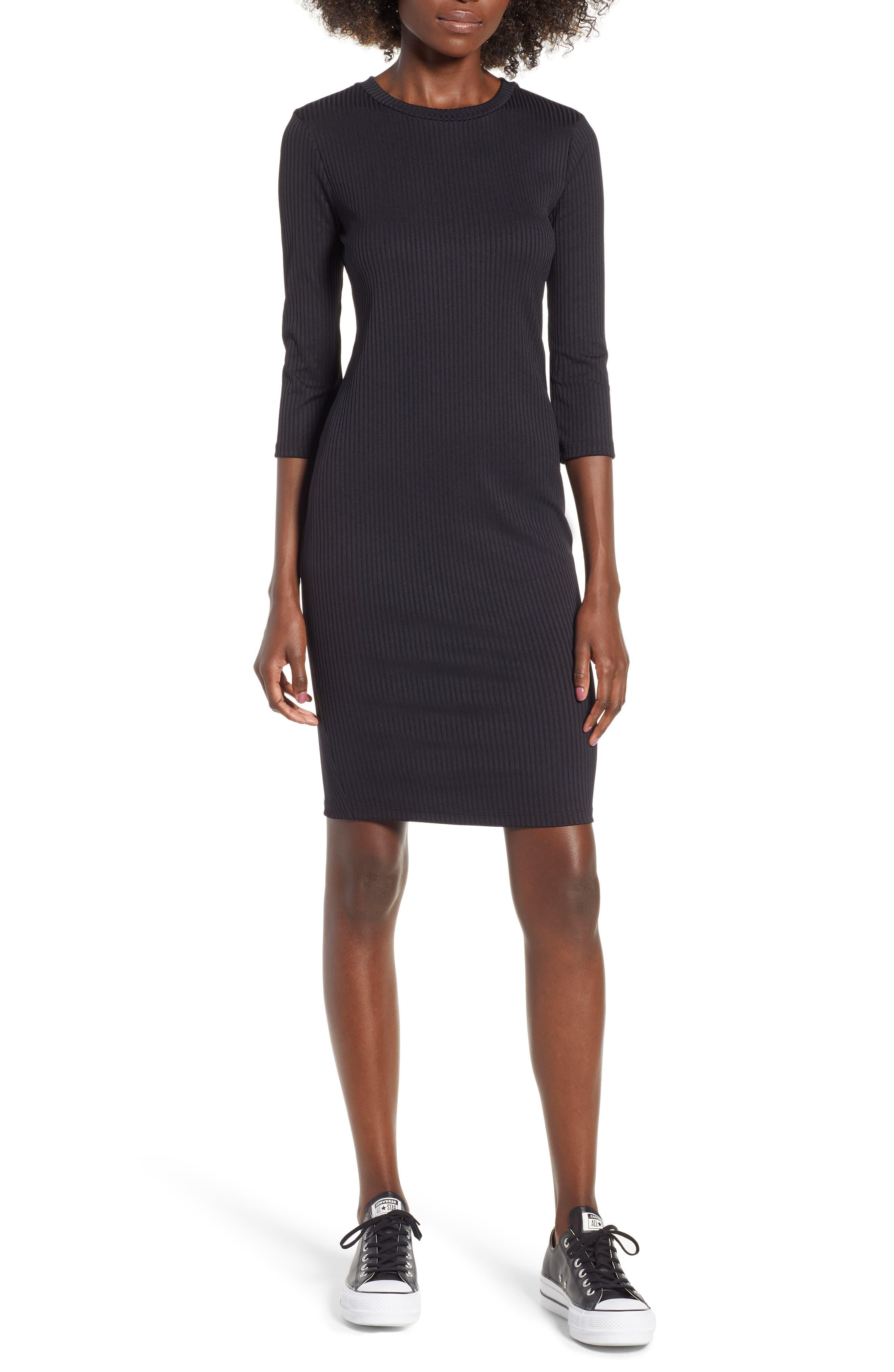 Ribbed Body-Con Minidress, Main, color, 001