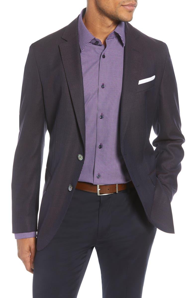 BOSS Hartlay Trim Fit Solid Wool Sport Coat, Main, color, DARK BROWN