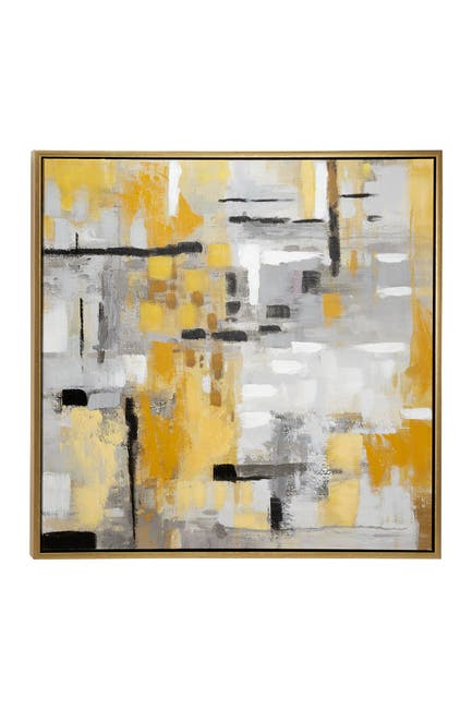 """Image of Willow Row 39.5"""" Large Square Contemporary Abstract Painting In Metallic Gold Wood Frame"""