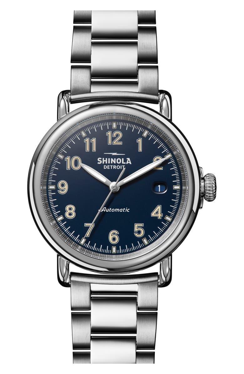 SHINOLA Runwell Automatic Bracelet Watch, 40mm, Main, color, SILVER/ MIDNIGHT BLUE/ SILVER