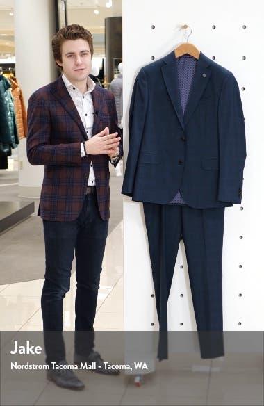 Roger Slim Fit Plaid Wool Suit, sales video thumbnail