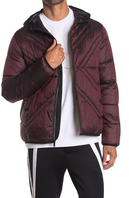 Karl Lagerfeld Paris Men's x Quilted Full Zip Hooded Jacket