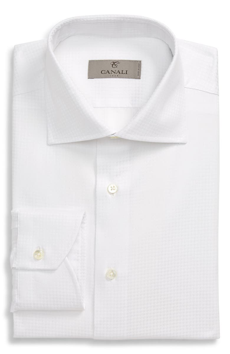 CANALI Regular Fit Houndstooth Dress Shirt, Main, color, WHITE