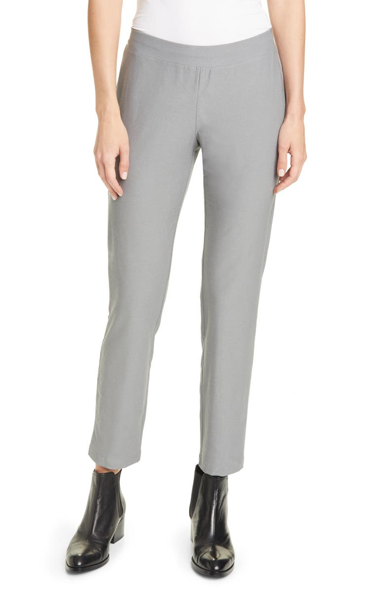 EILEEN FISHER Stretch Crepe Slim Ankle Pants, Main, color, PEWTER