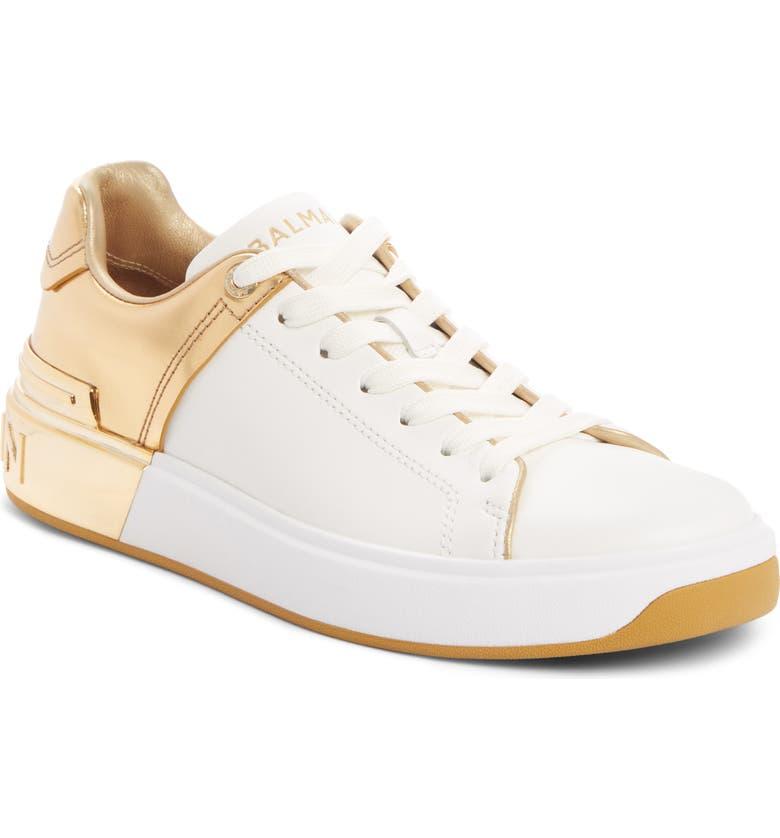 BALMAIN B-Court Metallic Accent Sneaker, Main, color, WHITE/ GOLD