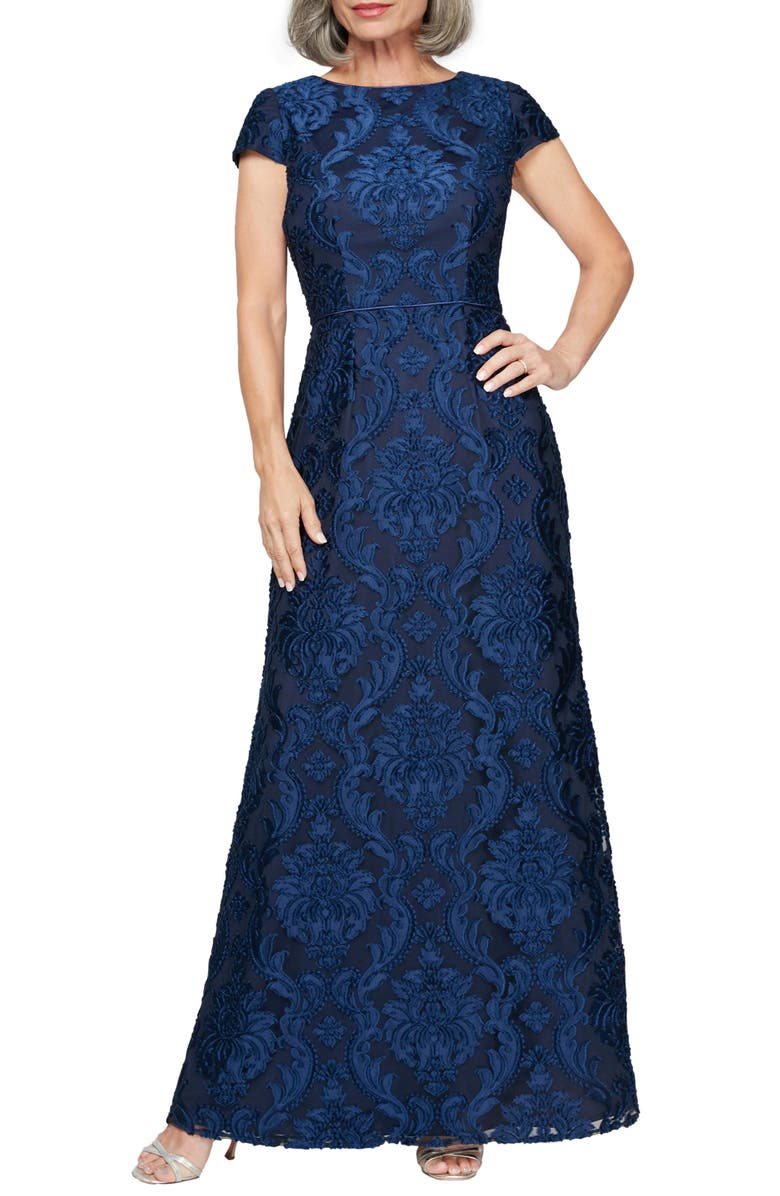 ALEX EVENINGS Brocade A-Line Gown, Main, color, BRIGHT NAVY