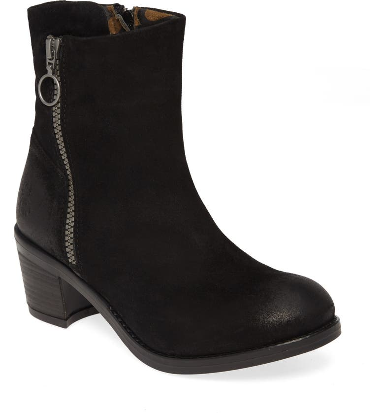FLY LONDON Zent Bootie, Main, color, BLACK LEATHER