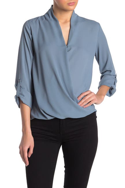 Image of Pleione Solid Surplice High/Low Blouse