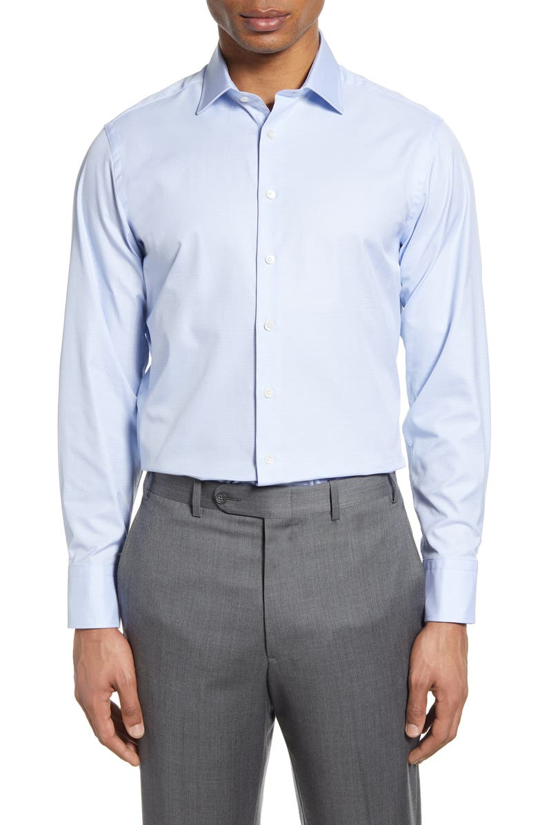 THOMAS PINK Trim Fit Houndstooth Dress Shirt, Main, color, PALE BLUE/ WHITE