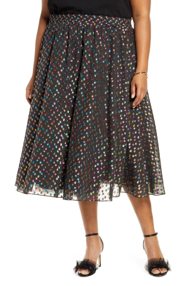 HALOGEN<SUP>®</SUP> x Atlantic-Pacific Rainbow Dot Full Skirt, Main, color, 001