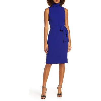 Chelsea28 Turtleneck Sleeveless Fit & Flare Dress, Blue