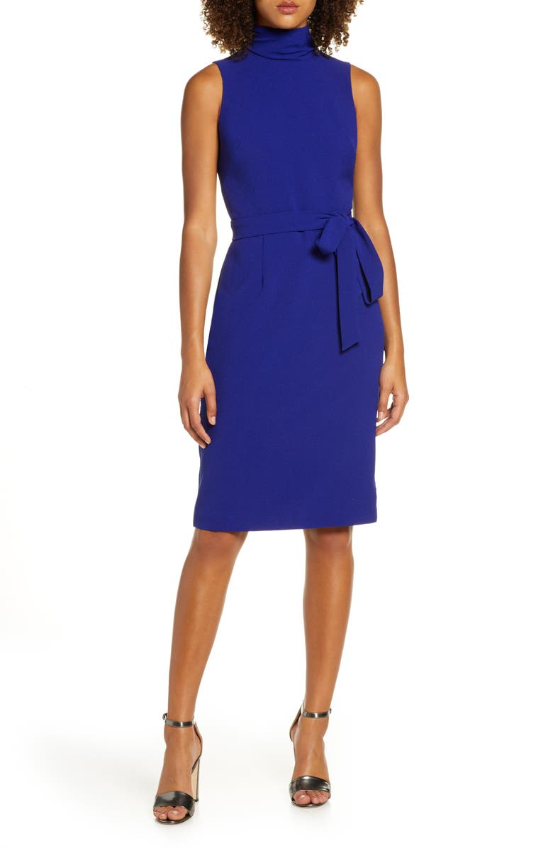 CHELSEA28 Turtleneck Sleeveless Fit & Flare Dress, Main, color, 401