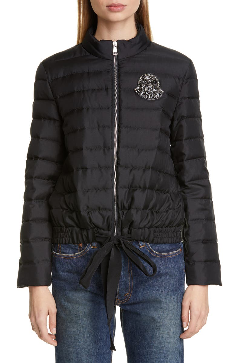MONCLER Prince Crystal Embellished Silk Lightweight Down Jacket, Main, color, BLACK