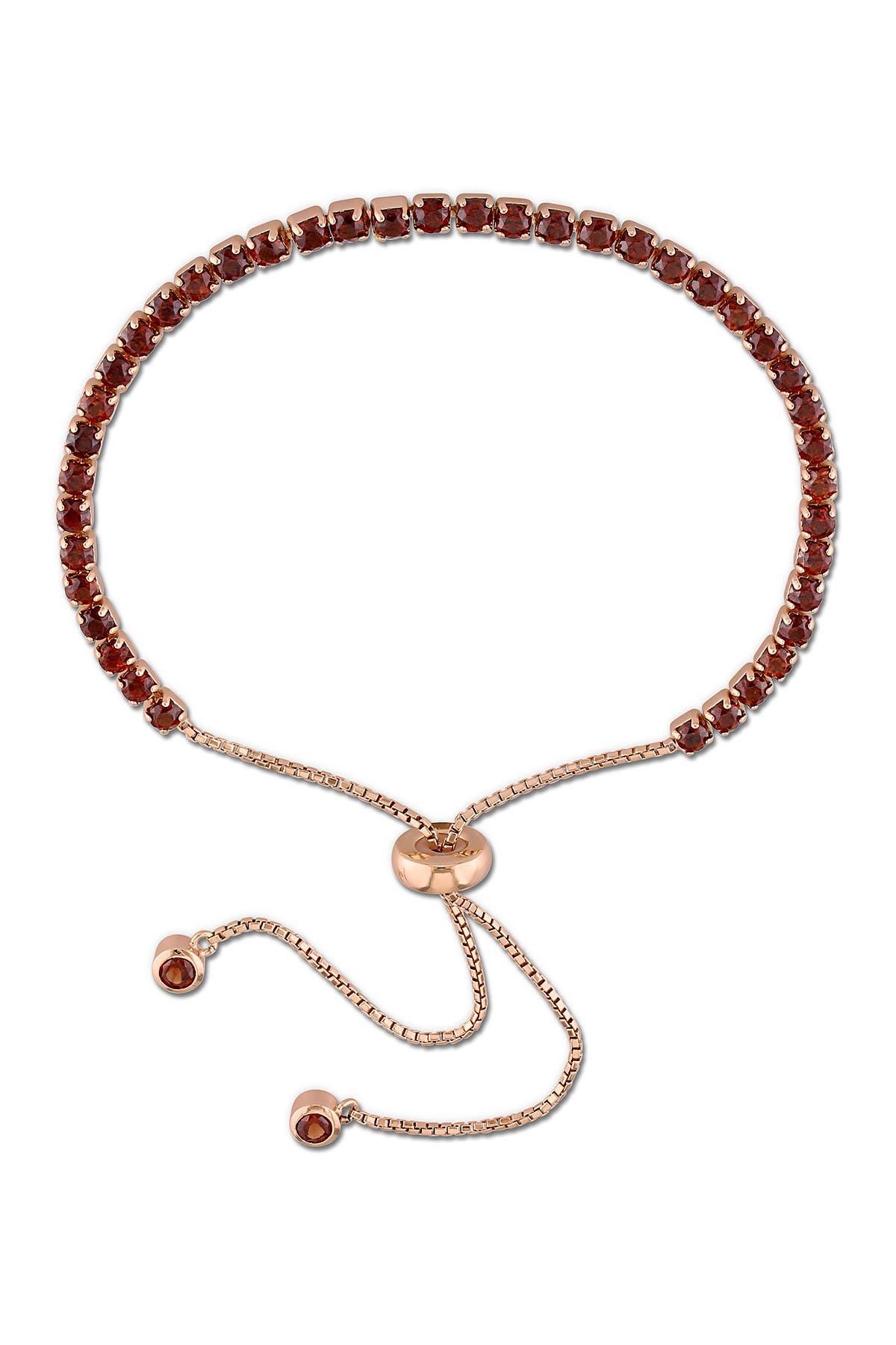 Image of Delmar Pink Plated Sterling Silver Garnet Adjustable Tassel Bracelet