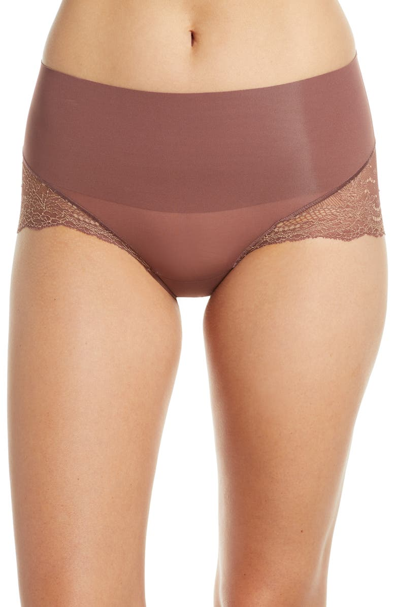 SPANX<SUP>®</SUP> Undie-tectable Lace Hipster Panties, Main, color, COCOA ROSE CRSSDYE